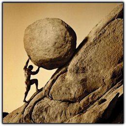 Sisyphus dorong batu